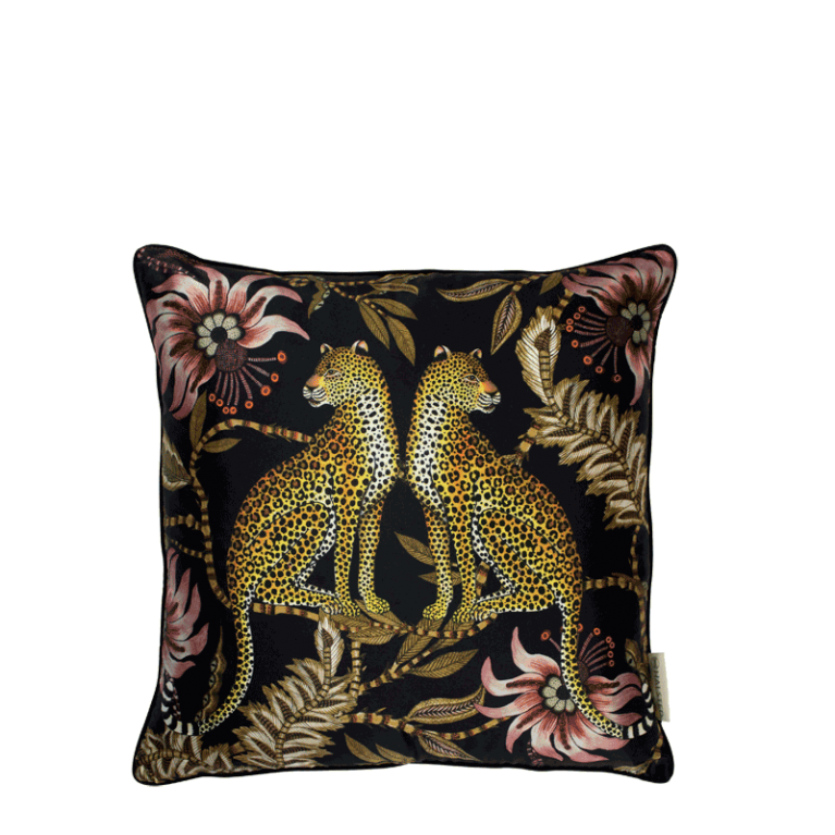 Lovebird Leopard Night Silk Cushion