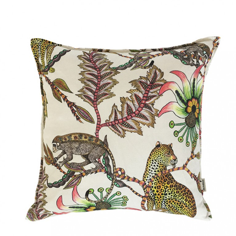 Monkey Bean Parakeet Linen Cushion