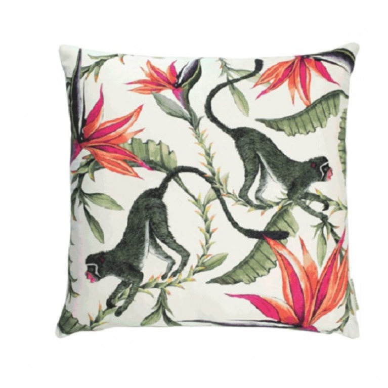 Monkey Paradise Chalk Cotton Cushion