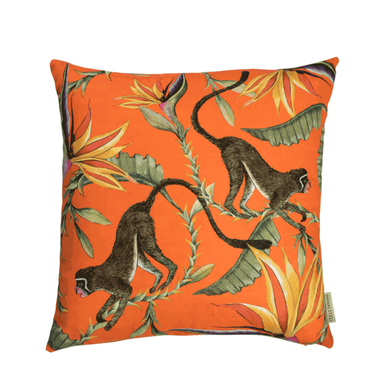Monkey Paradise Flame Silk Cushion